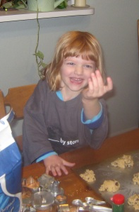 Abby making cookies
