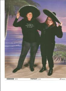 Annie and Donna big hats 001
