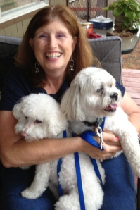 Annie, Louie, and Sparky on the porch of the cabin in Munds Park