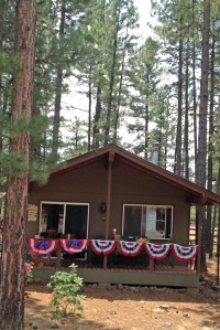 My cabin decked out for the Fourth of July