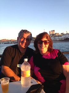 Annie and Joe relaxing on The Intrepid