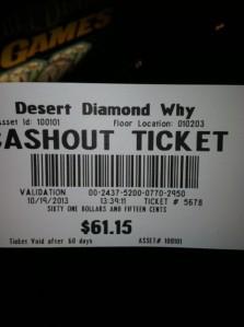 Joe's winnings in the Why Casino