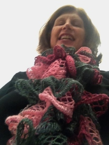 Me modeling a ruffle scarf