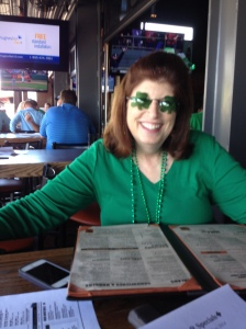 The shamrock glasses make the outfit.