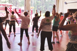 Zumba Gold in the Pinewood Fire Department Bay