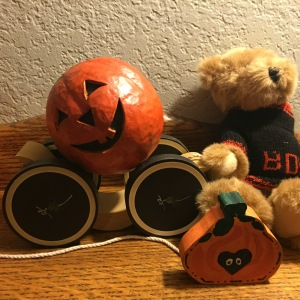 A pull-toy pumpkin I bought at least forty years ago