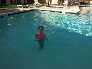 Abby swimming in the cold pool