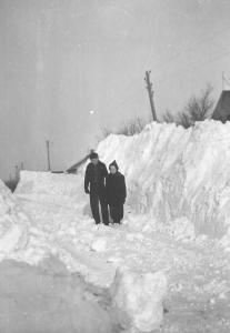 Joan and her brother during the North Dakota Blizzard of 1942