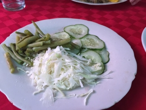 ubiquitous shredded cabbage, green bean and cucmber salad