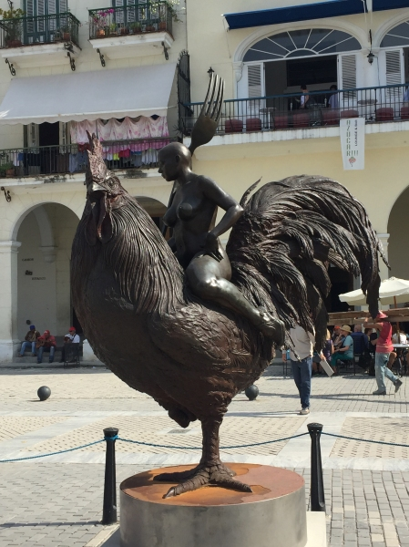 rooster surrealistic statue in Havana